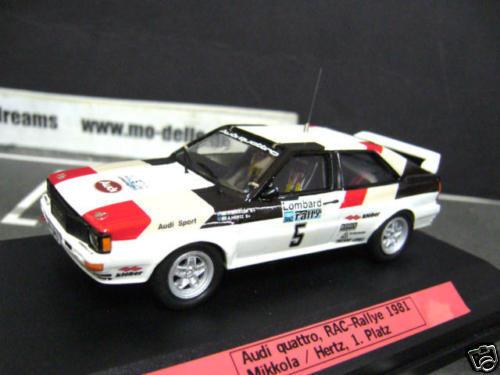 AUDI quattro rallye rac 1981 winner Mikkola donne Kit top racing 43 1 43