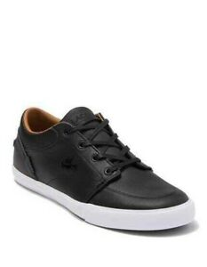 Lacoste Bayliss Black Leather Mens Sneakers Size 8.5