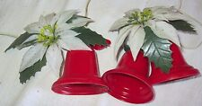 Vintage Lot 2 Electric Light Up Plastic Christmas Bells with Poinsettias Deco