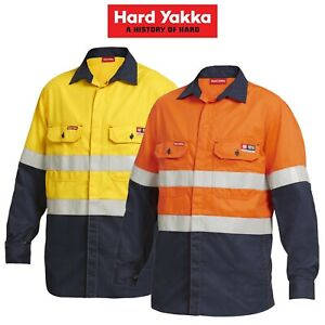 Mens-Hard-Yakka-Protect-Mining-Work-Hi-Vis-Fire-Resistant-Safety-Shirt-Y04350