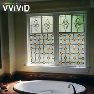 "36"" x 10ft VViViD Diamond Mosaic Frosted Privacy Window Film Home Glass Decor"