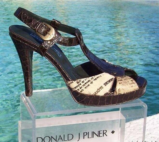 benvenuto a comprare Donald Pliner Couture Gator Hair Hair Hair Calf Leather scarpe New T Strap Platform  325 NIB  sconto di vendita