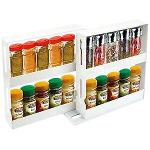 Cocina-Slide-amp-Giratorio-Hierbas-Especias-Estante-para-botellas-Organizador