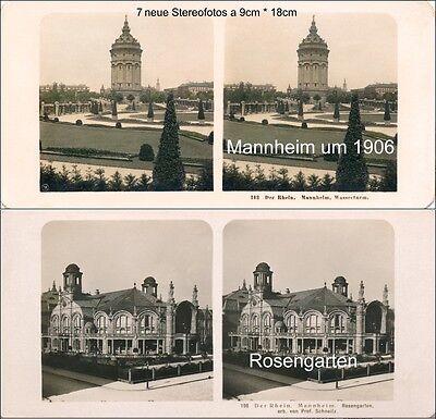 7 Stereofotos Von Mannheim - Wasserturm Und Mehr, Motive Um 1906
