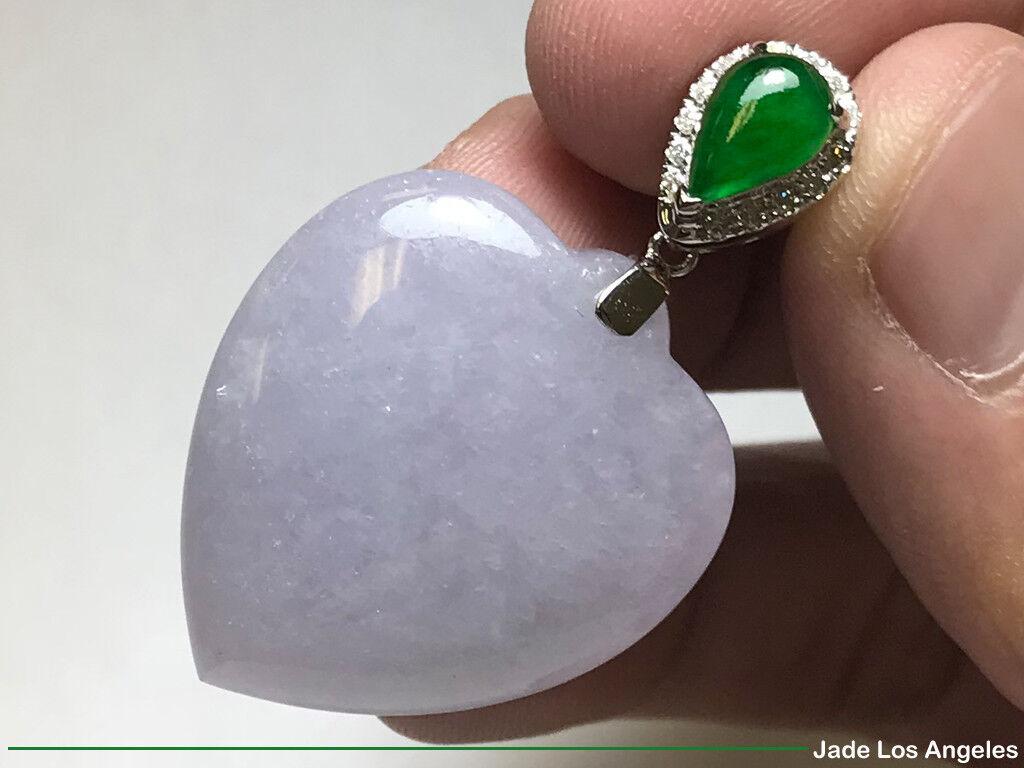 Heart Lavender Emerlad Green Jadeite Jade Pendant 18K White gold Diamond Bail