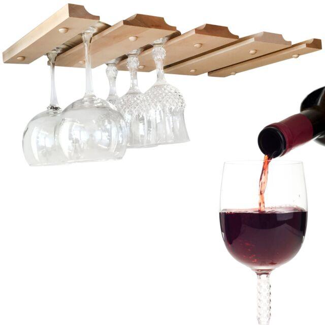 Smitco Llc Under Cabinet Wood Wine Glass Rack Hanging Holder For
