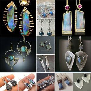 Women-Vintage-925-Silver-Turquoise-Drop-Earring-Jewelry-Hook-Stud-Dangle-BOHO