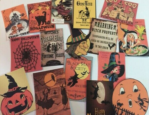 Halloween Gift Tags//DIE CUT//32 Piece Vintage Style~Halloween Junk Journals H32