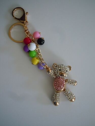 FABULOUS BLING Bear With Ballons Medal Alloy Purse Charm Keychain