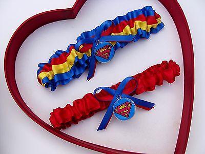 New Handmade Superman Wedding Garter Blue Red White Yellow Superhero Garter Prom