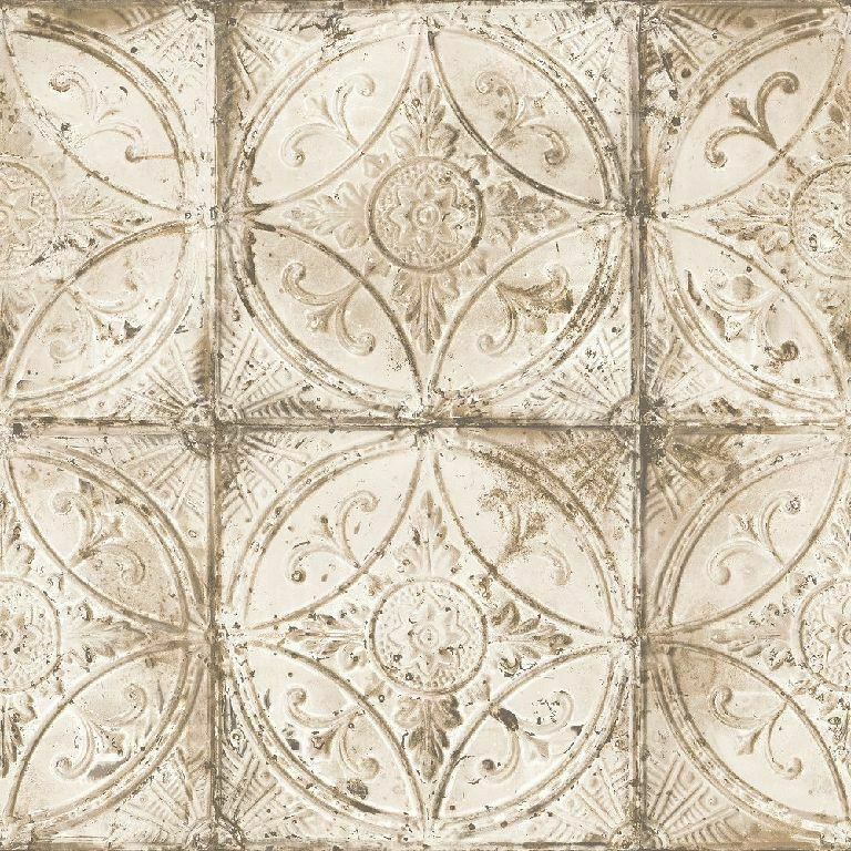 Essener Tapete Grunge G45374 Large Tile Ornament Beige Fleece Wallpaper Fleece
