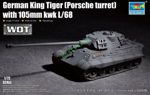 Trumpeter 07161 1//72 German KingTiger w//105mm kwk L//68 Porsche Turret