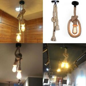 premium selection f6676 d834b Details about E27 Vintage Industrial Style 1/2 Head Cage Ceiling Pendant  Rope Light fitting