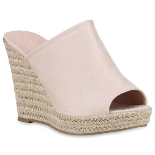 Damen Sandaletten Plateau Pantoletten Keilabsatz High Heels Bast 826315 Schuhe