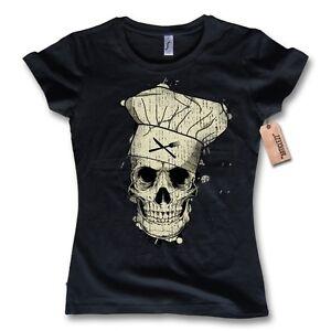 damen t shirt cooking skull kochen totenkopf chefkoch. Black Bedroom Furniture Sets. Home Design Ideas