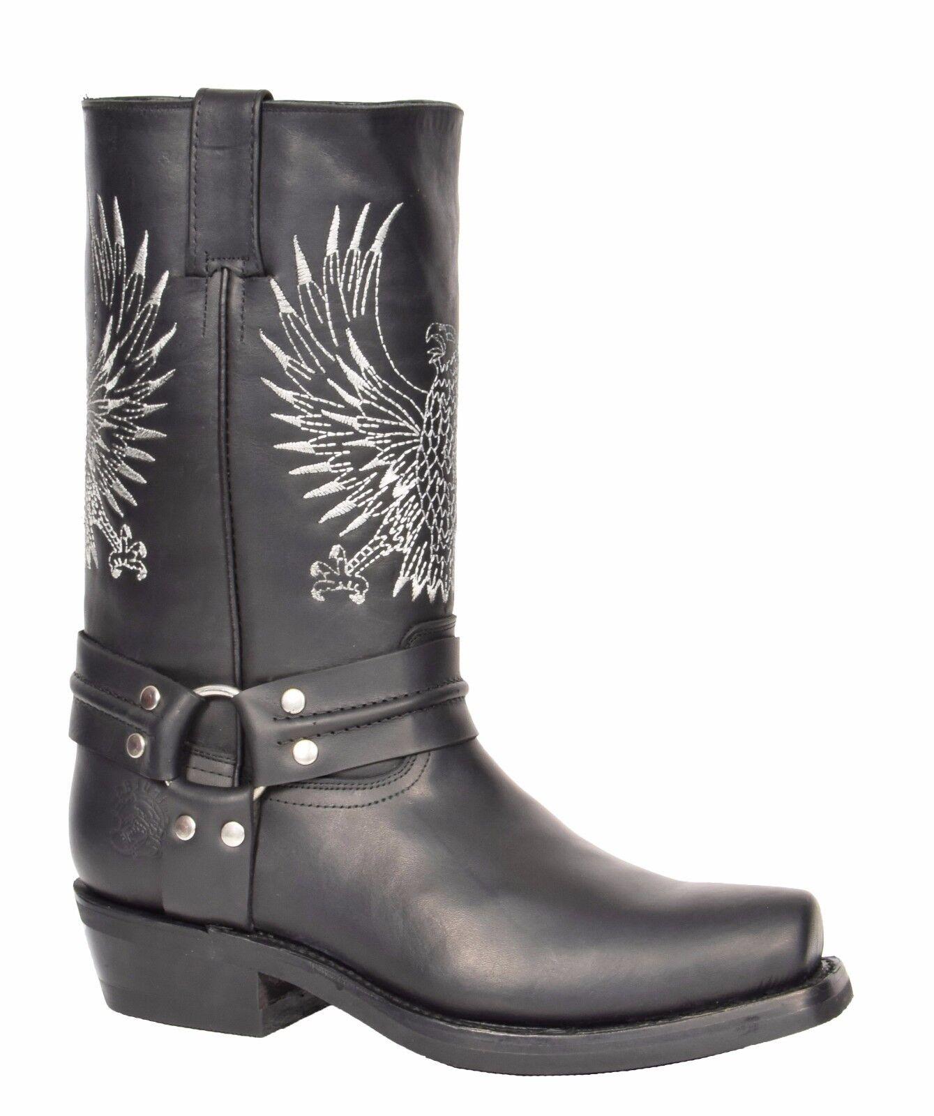 Da Uomo Nera In Pelle Cowboy Biker Boots Infilare Square Punta Stivali Firmati Grinders