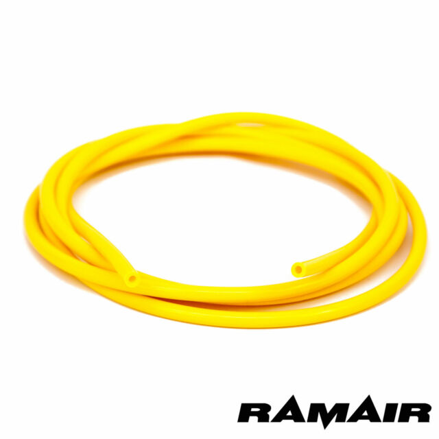RAMAIR 4mm x 5m YELLOW SILICONE HOSE TUBE PIPE - CABLE WIRE ROPE COVERING SLEEVE