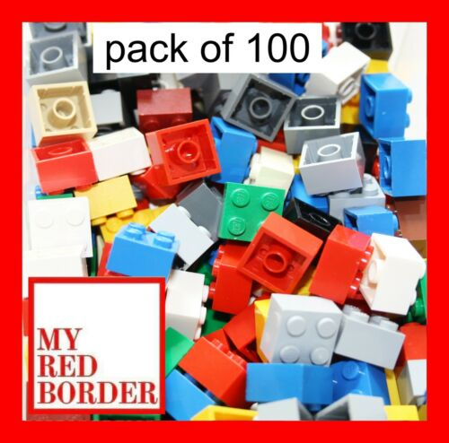 LEGO 2x2 BRICKS 3003 Pack Of 100 Parts Red Green Yellow Blue White Black
