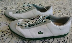 lacoste white w/ green leather althetic sneakers casual