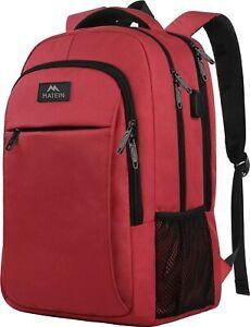 "Matein Men's Red 15.6"" Anti-Theft Travel Laptop Backpack School Bag USB Port"