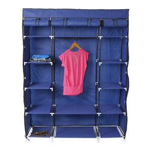 5-Layer 12 Grids Portable Closet Storage Organizer Wardrobe Clothes Rack Shelf