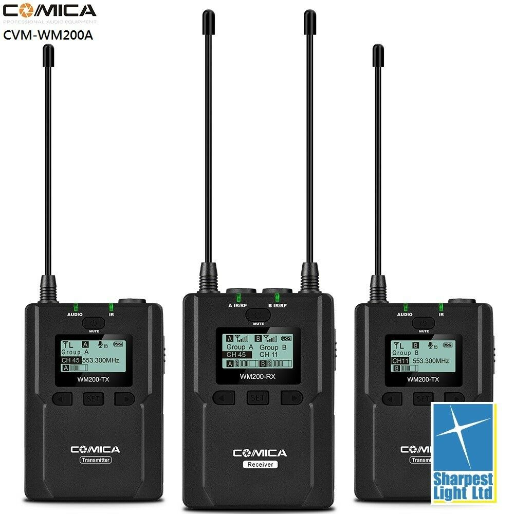 Comica CVM-WM200 96-Channel Full Metal UHF Professional Wireless Dual Lavalier M