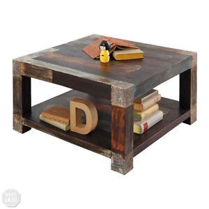 Couchtisch 80x80 Goa Tisch Beistelltisch Massivholz Vintage Used