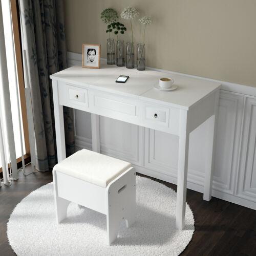 Vanity Makeup Dressing Table Set W Stool with Flip Top Mirror Wood Writing Desk