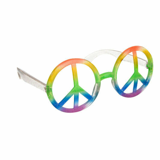 Hippie Peace Sign Glasses Retro Wood Stock Costume Accessory Adult Rainbow Round