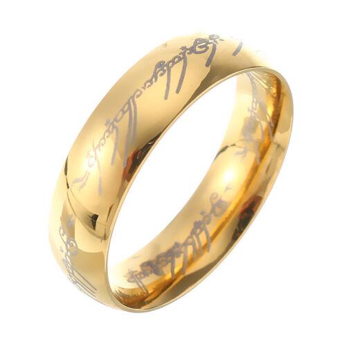 Chapado en Oro 18K Señor de los Anillos Acero Inoxidable Señor de los Anillos Anillo de dedo para Unisex