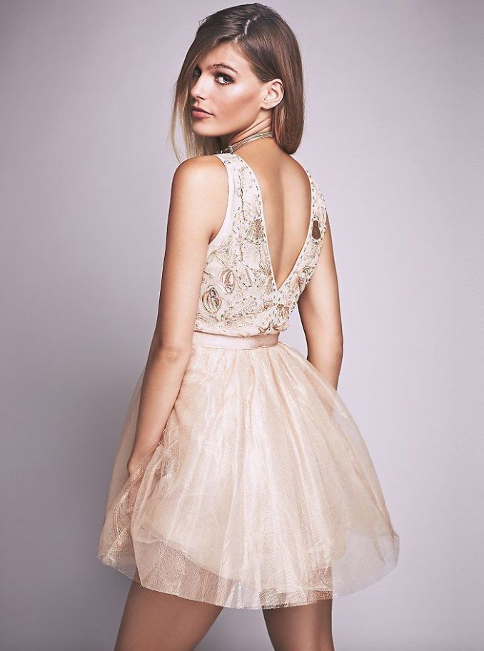NEW Free People Deja Vu Embellished Mini Dress pink gold gold gold Tulle RARE  Retail  300 6adc7c