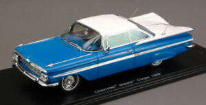 Chevrolet-Impala-Coupe-1959-Blue-White-1-43-Spark-S2902-Modellino