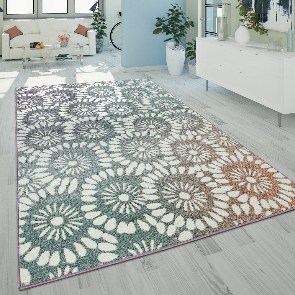 Moderno tappeto a pelo corto per il soggiorno con design floreale astratto in st