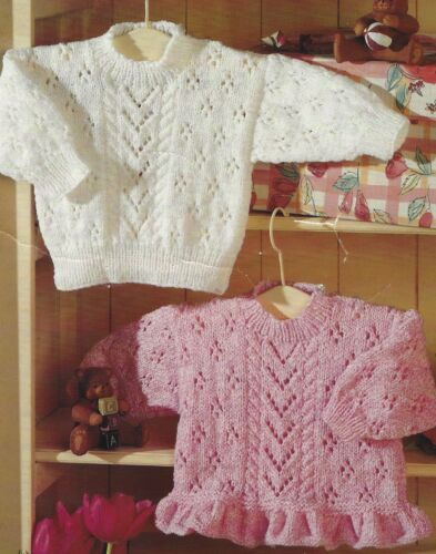 "Baby Girls Lace Sweaters Knitting Patterns with frilled Hem option 16-26/"" DK 425"