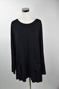 LOGO-by-Lori-Goldstein-3-4-Sleeve-Knit-Top-with-Chiffon-Trim-Solid-Black-XL
