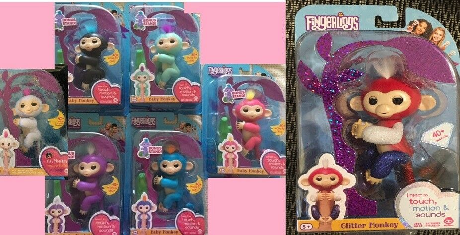New 7 Fingerlings Monkeys Interactive WowWee authentic includes Liberty