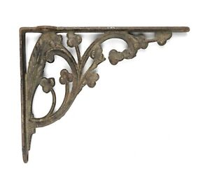 Rare Antique 19th Century Ornate Feather Clovers Cast Iron Wall Shelf Bracket