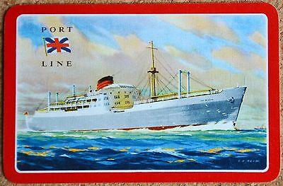 SHIPS- SHIPPING - PORT LINE - PORT BRISBANE - SINGLE VINTAGE SWAP PLAYING CARD