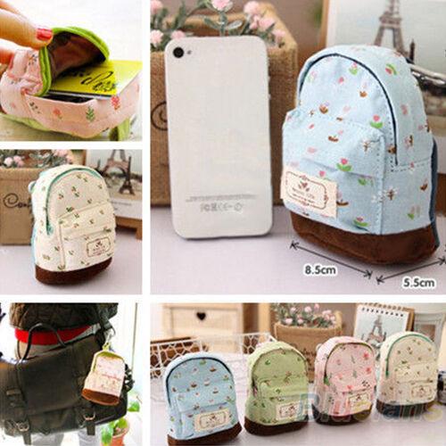 Charm Case Coin Card Backpack Purse Wallet Zipper Bag Pouch Flower Canvas B67U