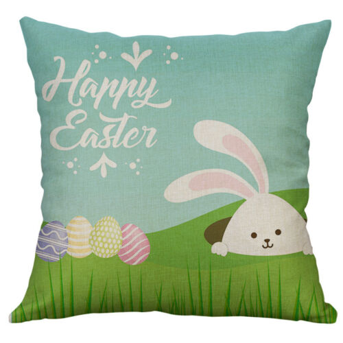 Pâques Lapin Motif Coton Lin Housse De Coussin Throw Pillow Case Home Decor