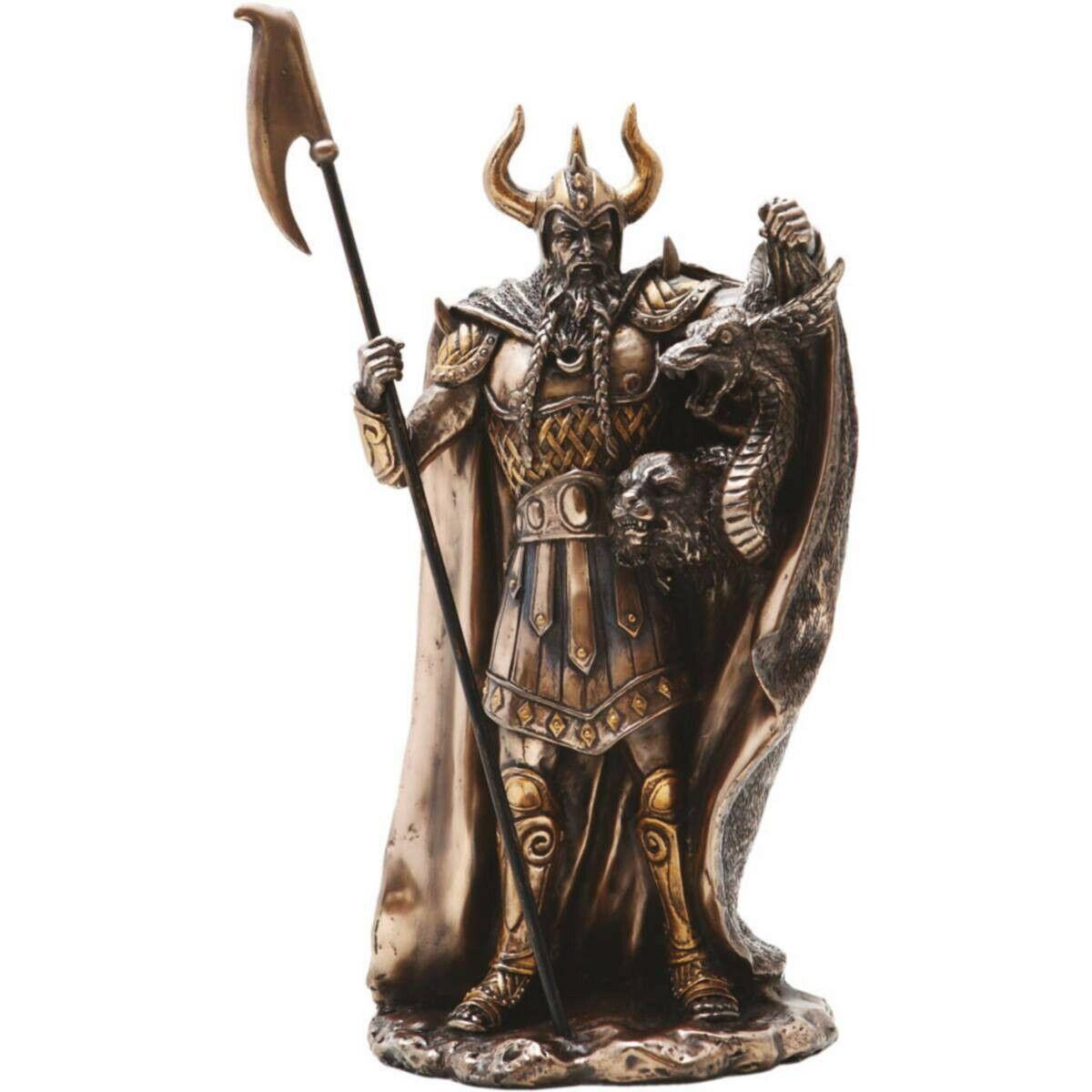 Loki pie con los dragones cabeza by Derek W. Frost bronziert