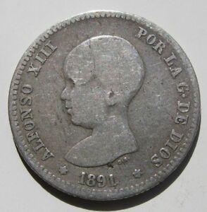 ALFONSO XIII , 1 PESETA DE 1891  . PLATA . ESCASA - España - ALFONSO XIII , 1 PESETA DE 1891  . PLATA . ESCASA - España