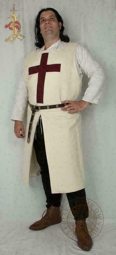 Medieval Reenactment Roman Tunic Best Look Fancy Design White Color Red Templar