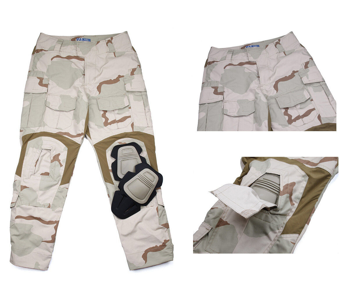 Men G3D3 Military Airsoft Combat Tactical Pants Camp Trousers+Knee Pads