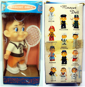 Vintage-Mascot-Doll-Tennis-Player-3-1-2-034-Tall-Boxed-Collect-All-12