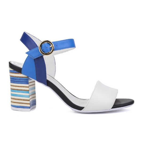 Ladies Open Toe Sandals Riva Baxin White and bluee EU Sizes 36 - 48