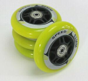 4-er-ROLLEN-SET-Inline-Skater-90-mm-Spacer-Kugellager-Inliner-NEON