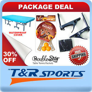 PACKAGE-DEAL-DOUBLE-STAR-TABLE-TENNIS-RACKETS-amp-BALLS-NET-WATER-PROOF-COVER