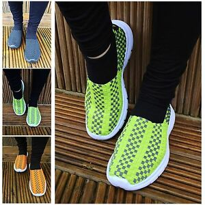 Womens Ladies Soft Soled Lightweight Woven Stretch Yoga Trainers Pumps Sizes 4-8