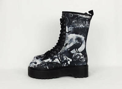 Goth boots skull crow shoes boots custom shoes ladies combat shoes women size 5